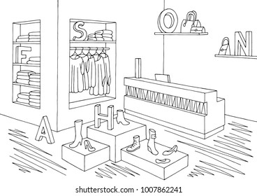 Shop store interior graphic black white sketch illustration vector