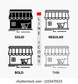 shop, store, market, building, shopping Icon in Thin, Regular, Bold Line and Glyph Style. Vector illustration