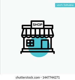 Shop, Store, Online, Store, Market turquoise highlight circle point Vector icon