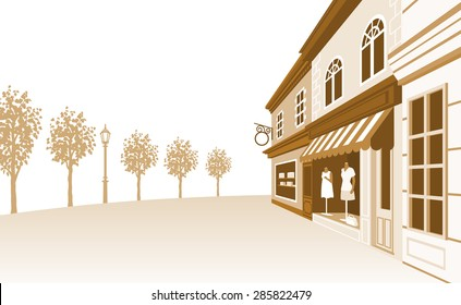 Shop Street,Sepia Toned