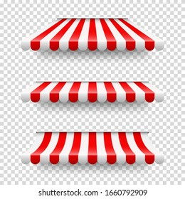 Shop sunshade. Realistic striped cafe awning. Outdoor market tent. Roof canopy. Summer street store. Vector illustration.