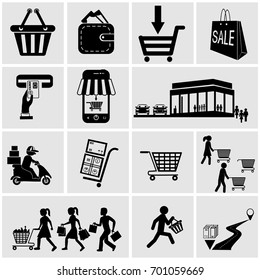 Shop, supermarket vector icons set on gray