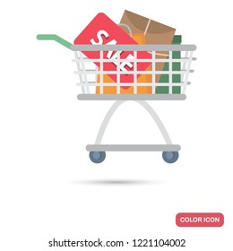 Shop trolley with sale purchases color flat icon