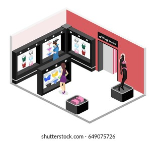 Shop of underwear. Isometric flat 3D isolated concept vector cutaway of a interior lingerie store