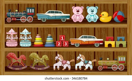 Shop of vintage toys. Vector illustration
