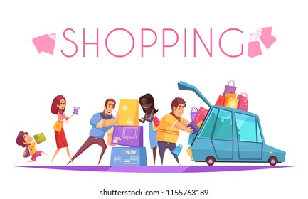Shopaholic background with text and view of cartoon people characters putting colourful boxes into the car vector illustration