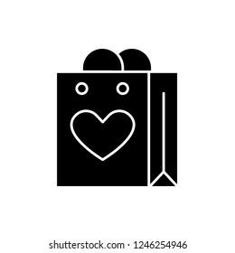 Shopaholic black icon, vector sign on isolated background. Shopaholic concept symbol, illustration