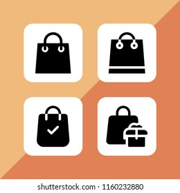 shopaholic icon. 4 shopaholic set with shopping bag vector icons for web and mobile app