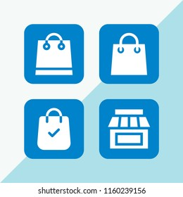 shopaholic icon. 4 shopaholic set with shopping bag and shop vector icons for web and mobile app