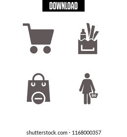 shopaholic icon. 4 shopaholic vector set. shopping bag, shopper and shopping icons for web and design about shopaholic theme