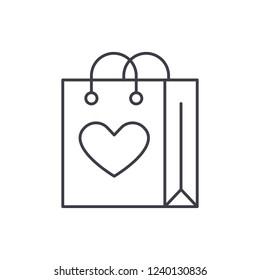 Shopaholic line icon concept. Shopaholic vector linear illustration, symbol, sign