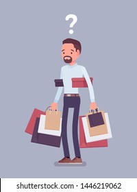 Shopaholic man buying too much. Anxious guy shopping with addiction, suffer from obsession of purchases, feeling distress, shame or guilt after abnormal impulse. Vector flat style cartoon illustration
