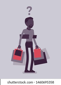 Shopaholic man buying too much. Anxious guy shopping with addiction, suffer from obsession of purchases, feeling distress, shame, guilt after abnormal impulse. Vector illustration, faceless character