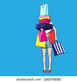 Shopaholic shopping woman holding many shopping bags. Vector illustration in pop art comic book style