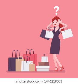 Shopaholic woman buying too much. Young anxious girl shopping with addiction, suffer from obsession of purchases, feeling distress, shame or guilt after. Vector flat style cartoon illustration