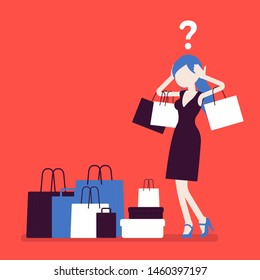 Shopaholic woman buying too much. Young anxious girl shopping with addiction, suffer from obsession of purchases, feeling distress, shame or guilt after. Vector illustration, faceless character