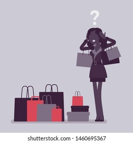 Shopaholic woman buying too much. Young anxious black girl shopping with addiction, suffer from obsession of purchases, feeling distress, shame or guilt after. Vector illustration, faceless character