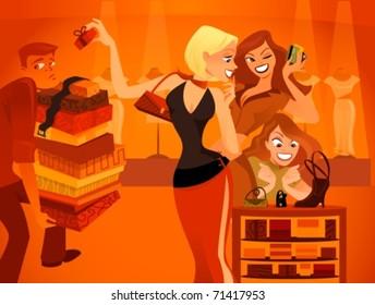 shopaholic  women about to buy a purse in a shoe shape