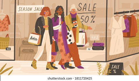Shopaholic women friends walking near store showcase with coffee cup and shopping bags vector flat illustration. Trendy female characters spending time together during big sale or discount season