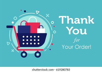 The shopcart full of purchases flat design banners with the trendy colors and background with the geometric elements, circles, lines, triangles. Thank you for your order concept.