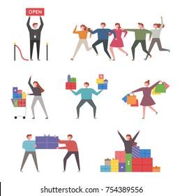 Shophoric characters. vector illustration flat design
