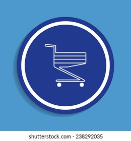 Shoping basket on a blue background, vector, EPS 10