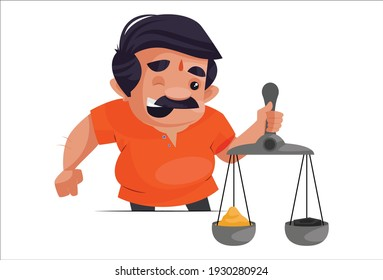 Shopkeeper is holding scales in hand. Vector graphic illustration. Individually on a white background.
