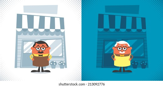 Shopkeeper: Illustration of cartoon shopkeeper in 2 color versions. No transparency and gradients used.