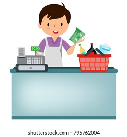The shopkeeper is thinking of grocery bills for his clients.