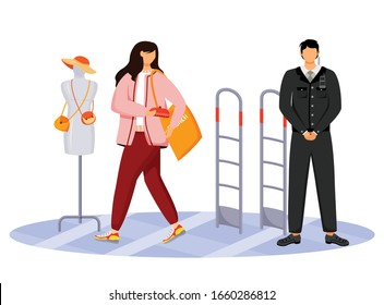 Shoplifting flat color vector faceless character. Kleptomania. Store theft. Woman stealing purse from shop. Thief and security guard in shopping mall. Larceny. Isolated cartoon illustration