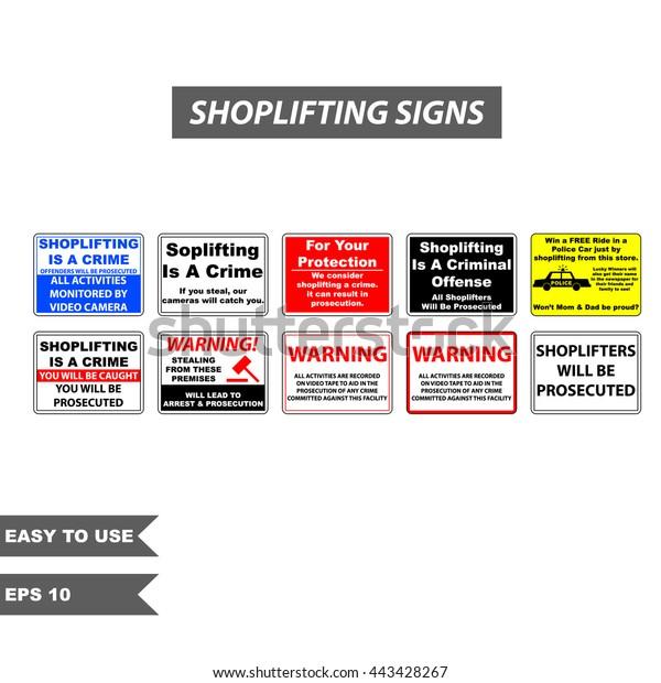 Shoplifting Signs Warning Store Softlifter Stock Vector