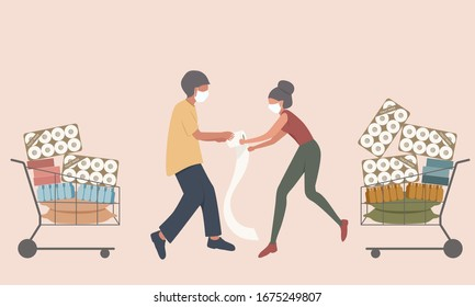 Shopper male and female fight for the toilet paper and hoarding food to prepare for the worst in virus spreads