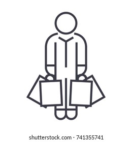 shopper man with bags linear icon, sign, symbol, vector on isolated background