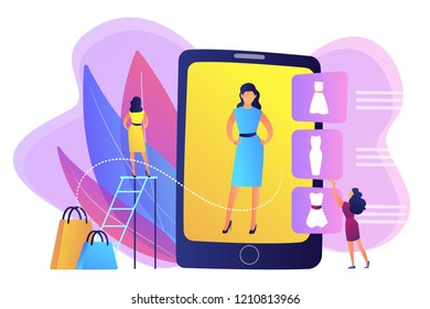 Shopper trying on clothes size and style in virual fitting room on tablet. Virtual fitting room, online dressing, e-commerce clothing room concept. Bright vibrant violet vector isolated illustration