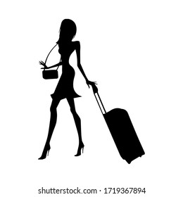 Shopper young woman. Silhouette of girl with shopping bags. Sale and shopping concept. Vector illustration