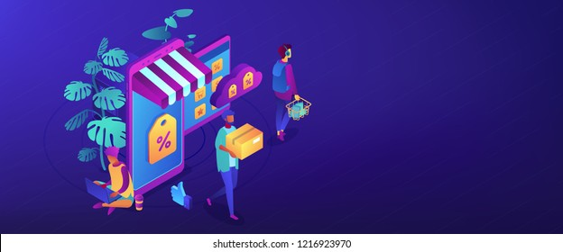Shoppers buying with gadgets in online discount store. Outlet store and online sale, clearance and percent, ecommerce and special offer concept. Isometric 3D banner header template copy space.