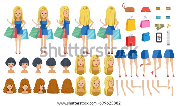 ec237fd759 Shoppers Dress Adolescence Animated Character Creation Stock Vector ...