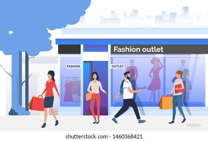 Shoppers walking and carrying bags near shop window. People choosing and buying clothes in shop. Fashion outlet, boutique concept. Vector illustration for topics like business, shopping, sale