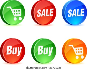Shopping 3d icons. Vector illustration.
