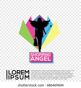 Shopping Angel Logo Vector