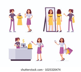 Shopping assistant help customer in clothing store. Flat style vector illustration isolated on white background.
