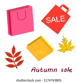 shopping autumn sale paper package fallen leaves vector background