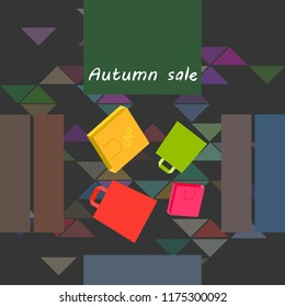 shopping autumn sale paper package vector background