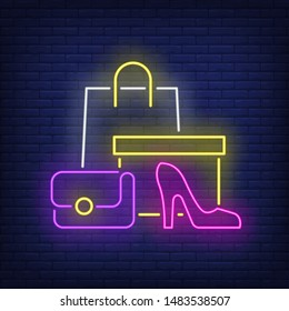 Shopping bag, box, woman heeled shoe neon sign. Retail, marketing, sale design. Night bright neon sign, colorful billboard, light banner. Vector illustration in neon style.