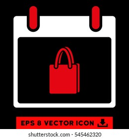 Shopping Bag Calendar Day icon. Vector EPS illustration style is flat iconic bicolor symbol, red and white colors.