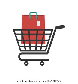 Shopping bag and cart icon. Commerce market and store theme. Isolated design. Vector illustration