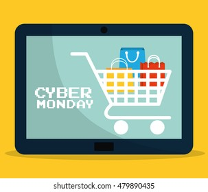 Shopping bag cart and tablet icon. Cyber Monday ecommerce and market theme. Colorful design. Vector illustration
