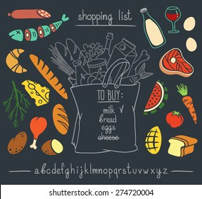 Shopping bag chalkboard hand drawn sketch with set of colorful cartoon style food stickers and hand written font. Vector illustration isolated over black background.