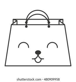 shopping bag character kawaii style vector illustration design