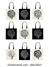 Shopping bag collection, art tree design